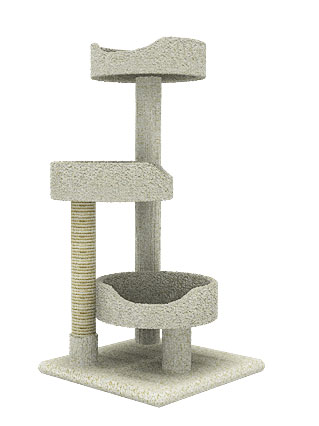 New Cat Condos Carpeted Solid Wood Cat Tree Tower-Neutral Color 3D Preview